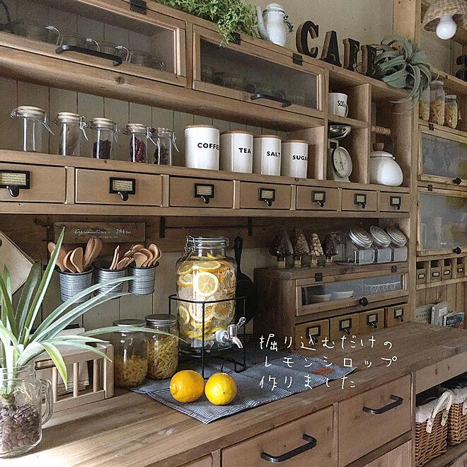 食器棚/レモンシロップ/ドリンクサーバー/手作り家具/リビングのインテリア実例 - 2020-08-12 18:31:44