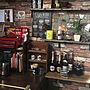 男性51歳の家族暮らし、Macintoshカフェ風やガレージやバーカウンターやカフェなどに関するonumanさんの実例写真