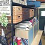 女性家族暮らし2LDK、脱☆築40年以上の昭和な団地棚やカゴ収納やキューブボックスやニトリのカゴなどに関するtokiさんの実例写真