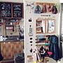 女性家族暮らし2DK、お支度コーナーOn Wallsや無印良品やマグカップや黒画用紙に白ポスカなどに関するamelie1259さんの実例写真