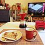 女性家族暮らし3K、Rodyちゃん作ランチョンマットMy Deskやホットサンドやニトリのマグカップやニトリのランチョンマットなどに関するkurokoさんの実例写真