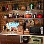 女性36歳の家族暮らし、オープン棚キッチンやキッチン棚やブラウンや平田タイルなどに関するtomoyuzupiさんの実例写真