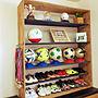 女性家族暮らし3LDK、針葉樹合板My Shelfや観葉植物や100均やDIYなどに関するsuusunさんの実例写真