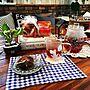 女性家族暮らし4LDK、手作りランチョンマットLoungeや紫陽花やフルーツティーやDIYテーブルなどに関するchisaさんの実例写真
