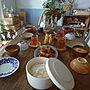 女性36歳の家族暮らし3LDK、ご飯机や古道具やマンションやご飯などに関するmakkyfoneさんの実例写真