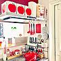 女性家族暮らし3LDK、マグネット壁Kitchenや無印良品やカラフルや北欧などに関するtaitaiさんの実例写真