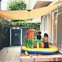 女性家族暮らし4LDK、暑すぎるEntranceや暑すぎるや日本の夏♡やタープなどに関するsweetdreamさんの実例写真