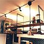 女性33歳の家族暮らし4LDK、白目地→黒目地My Shelfやアイアンや吊り下げシェルフやキッチン上などに関するchocoさんの実例写真
