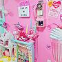 女性38歳の家族暮らし、電話カラフルインテリアやカラフルな部屋やゆめかわいいやファンシーなどに関するEibrab-YUMIさんの実例写真