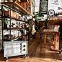 女性家族暮らし3LDK、電気ストーブBedroomやダイニングテーブルやカウンター下収納や塩ビパイプ棚などに関するyuka0527さんの実例写真