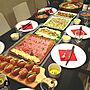 女性家族暮らし、おもてなしご飯机やダイニングやダイニングテーブルやテーブルコーディネートなどに関するmikimikiさんの実例写真