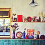 My Shelf/タイル/絵本/ドライフラワー/リサラーソン/陶板/東欧雑貨/平田タイル/定点観測/クリスマスに関連する部屋のインテリア実例