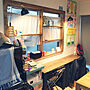 ライト/壁/勉強机/DIY/surf/WTW/イケヤ/日曜大工/テーブルDIYに関連する部屋のインテリア実例