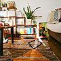 Lounge/本棚/DIY/一人暮らし/かご/賃貸/アート/モロッコラグ/生活感/ツイードミルに関連する部屋のインテリア実例