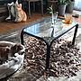 Bedroom/クッション/ブラウン/レトロ/古道具/ガラステーブル/水栽培/犬のいる暮らし/キャバリア/植物のある暮らし/少しずつ断捨離中/お家時間/ブラウンインテリア/落ち着ける部屋作りに関連する部屋のインテリア実例