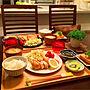 My Desk/無印良品/ダイニング/箸置き/おうちごはん/晩ごはん/無印良品のトレー/ナチュラルキッチンのお皿/野菜が好き♡/ニトリの食器♡/健康的に過ごしたい☆に関連する部屋のインテリア実例