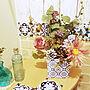 My Desk/100均/ドライフラワー/セリア/フェイクグリーン/松ぼっくり/ナチュラルキッチン&/造花アレンジ/ニトリ雑貨/100均大好き/ダイソーリメイクシート/セリアリメイクシート レンガに関連する部屋のインテリア実例