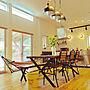 My Desk/ダイニングテーブル/平屋/リノベーション/マリンランプ/アイランドキッチン/カリフォルニアスタイル/サーファーズハウス/RC大分支部/サンワカンパニー オッソに関連する部屋のインテリア実例