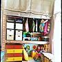 Overview/ダイソー/子供部屋/収納/百均/セリア/押入れ/チェスト/レンガ/沖縄/おもちゃ収納/賃貸アパート/壁紙シート/ローマンシェード/4人家族に関連する部屋のインテリア実例