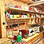 Kitchen/マグカップ/食器棚/収納/DIY/みせる収納/アメリカン/デロンギ/ダルトン/DULTON/木の家/ダクト/アラジントースターに関連する部屋のインテリア実例