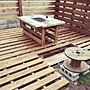 Entrance/木製/階段/DIY/ウッドデッキ/木製パレット/BBQテーブル/BBQコンロ/廃材で/木の公園に関連する部屋のインテリア実例