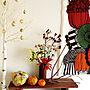 Entrance/カボチャ/タペストリー/ハロウィン/コストコ/marimekko/白樺ツリー/玄関ディスプレイ/花を飾る/花のある風景に関連する部屋のインテリア実例