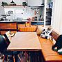 Kitchen/IKEA/ダイニング/ブラウン/100均/ダイニングテーブル/ニトリ/セリア/salut!/フェイクグリーン/ウォールナット/無垢の床/サブウェイタイル/タイルキッチン/無垢材/海外インテリアに憧れる/ブルックリン/背面キッチン/ソファダイニングに関連する部屋のインテリア実例