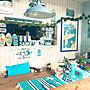 Lounge/観葉植物/ウォールナット/クリスマスツリー/スヌーピー/メリークリスマス/青が好き/日焼けスヌーピー/ハレイワ/西海岸インテリア/ノースショア/サーフスヌーピー/西海岸風 インテリア/アロハストリート/moni/ハワイが好き/サーファーズインテリア/クリスマス/モニ/SURF-N-SEAに関連する部屋のインテリア実例
