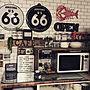 Kitchen/100均/電子レンジ/セリア/カフェコーナー/すのこ棚に関連する部屋のインテリア実例