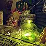 My Desk/シーグラス/星ライト/ビンライト/観葉植物のある暮らし/ケーブルドラムリメイクに関連する部屋のインテリア実例