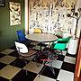 My Desk/イームズ/猫/ハーマンミラー/市松模様/ねこのいる風景/ウーテンシロ/ルーク/ねこのいる日常/ねこ部屋/市松模様の床/ブリティッシュショートヘア/ぽて猫部に関連する部屋のインテリア実例