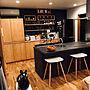 Kitchen/モノトーン/キャットウォーク/シマトネリコ/造作棚/イームズチェア/Rody/シンプルインテリア/黒が好き/リシェルSIに関連する部屋のインテリア実例