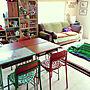 My Desk/ダイソー/カラフル/ハンドメイド/DIY/レトロ/セリア/メルカリ/セリアリメイクシート/ダイソーリメイクシート/かべがみや本舗/ヤフオク購入に関連する部屋のインテリア実例