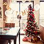 Lounge/ダイソー/IKEA/100均/誕生日/コストコ/バースデー/ゴールド/パーティー/バルーン/コットンフラワー/フライングタイガー/海外インテリアに憧れる/誕生日飾り付け/こどもと暮らす。/フォロワーさんに感謝♥/クリスマスに関連する部屋のインテリア実例