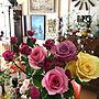 Lounge/観葉植物/アンティーク/バラ/ハーマンミラー/ガーベラ/ヴィンテージ/カーネーション/アメリカンヴィンテージ/イームズチェア/50s/花のある暮らし/NO GREEN NO LIFE/バラ大好き♡/フォロー&いいね ありがとうございます♡/カスミソウ/いいね♪いつもありがとうございます❤️/植中毒♡に関連する部屋のインテリア実例