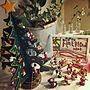 My Desk/セリア/RCの出会いに感謝♥︎/木製オーナメント/いいね♪本当に感謝です♥/クリスマス/木製クリスマスツリー/kyooonちゃん素敵便♥/kyooonちゃんの作品/サンタミニオブジェに関連する部屋のインテリア実例