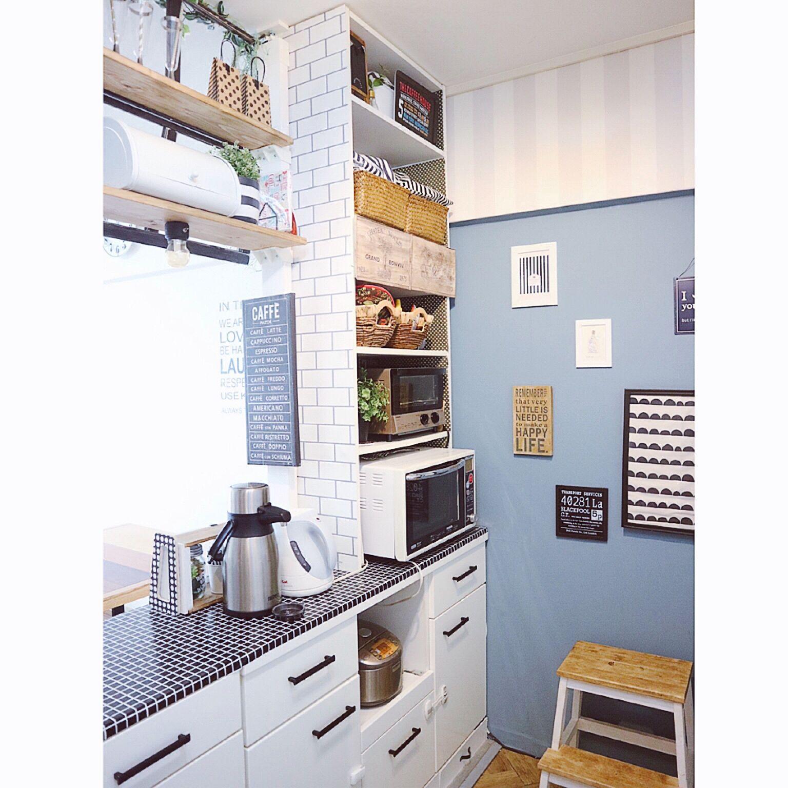 キッチンで使いこなす☆カラーボックスの活用実例