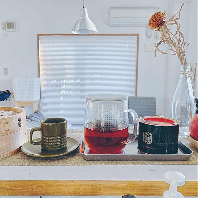 Kitchen,ガラスポット,賃貸,ふたり暮らし,アルミブラインド,ブラインド,無印良品,ステンレストレー,ドライフラワー Mikiの部屋