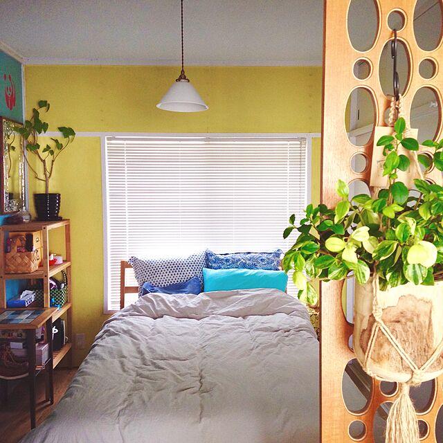 Bedroom,照明,パーティション,無印良品,三角,観葉植物,団地,ZARA HOME,クッション,四畳半 rueの部屋