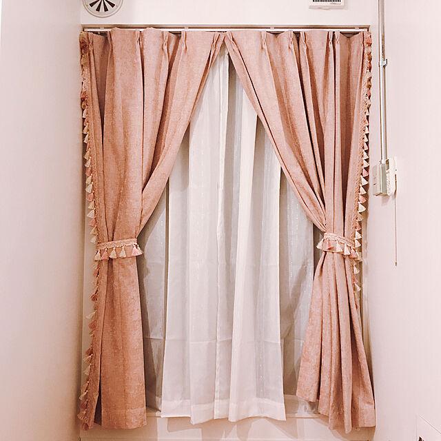 カーテン,ピンク,ニトリのカーテン,ニトリ,一人暮らし,Lounge,ナチュラル,カフェ風 laylaの部屋