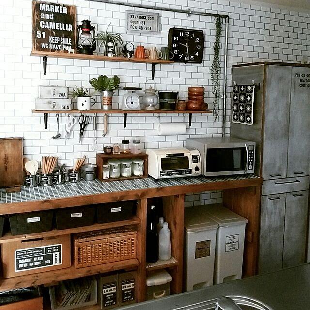 Kitchen,DIY,男前,インダストリアル,カフェ風,キッチンカウンターDIY,塩ビ管DIY,見せる収納,オープン収納,タイル天板DIY,食器棚リメイク,セルフリノベーション,※コメント欄お休みでお願いします,IG⇨maca_home,ブログよかったら見てみて下さい♩,壁紙屋本舗 macaの部屋