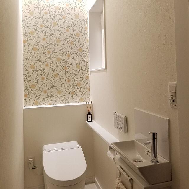 Bathroom,モリスの壁紙,間接照明,トイレ,トイレの壁,TOTO,ネオレスト,ウィリアムモリス,ウィリアム・モリス,モリス shimaaaadsの部屋