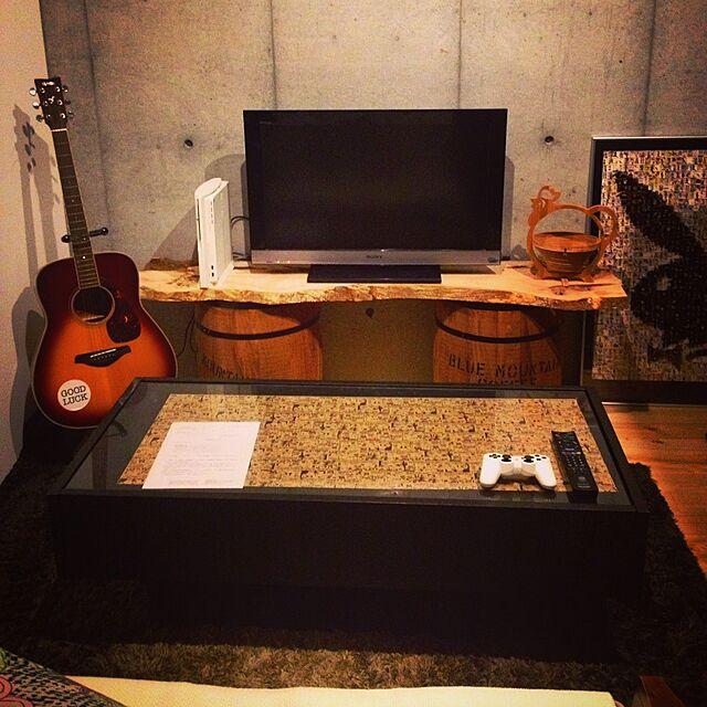 Lounge,男前,コンクリート打ちっ放し,テレビ台DIY,テレビボード,リビング tiarin9696の部屋