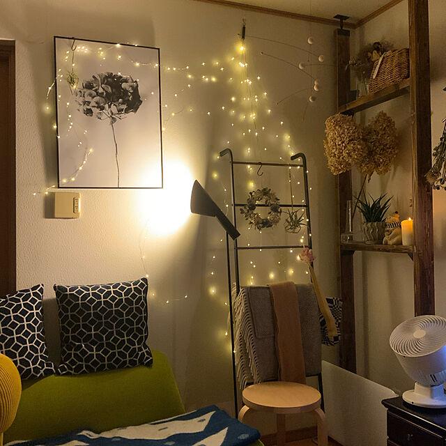 間接照明のある暮らし,ポスターのある暮らし,ドライフラワーのある暮らし,ハンガーラック,ラブリコ 2×4,アルテック スツール,イデー ソファ,北欧、暮らしの道具店,エアープランツ♡,On Walls ayutaxの部屋