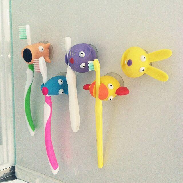 Bathroom,生活感!,歯ブラシホルダー,鏡の裏,洗面所,カラフル,アニマル koaraの部屋