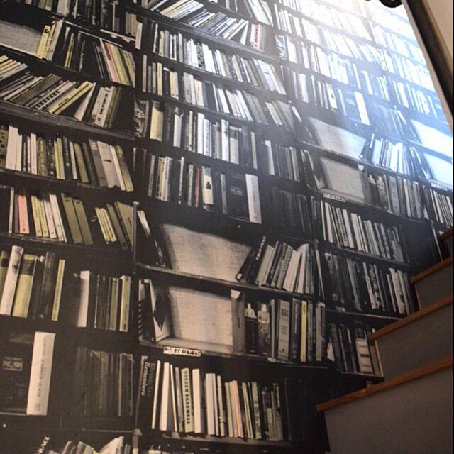 On Walls,階段,壁紙,本棚柄,デボラ・バウネス,deborah bowness,walpa mareenの部屋