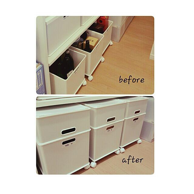 Kitchen,まだまだ改造中,すっきり,イケア,勝手にフォローさせて頂いてます。。,使いやすく,シンプル,ニトリ,パントリー,ボックス収納 yuyuの部屋