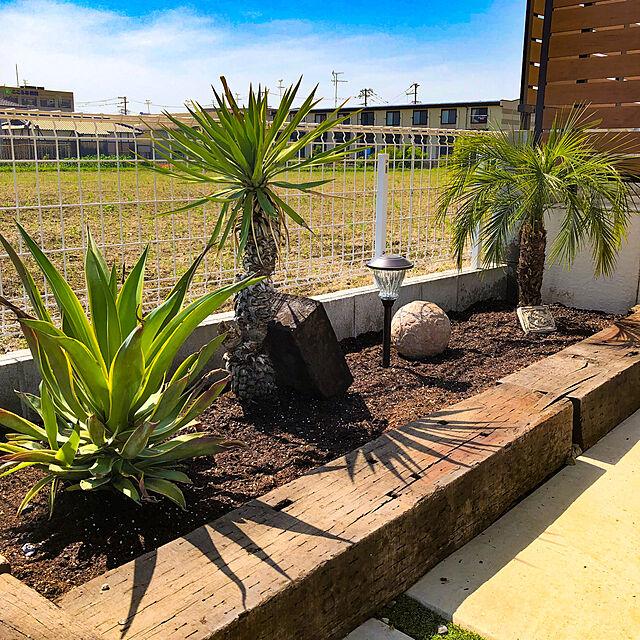 花壇DIY,花壇 手作り,ハワイ,ソーラーライト,ヤシの木,枕木 アプローチ,雑貨,Entrance RIVの部屋