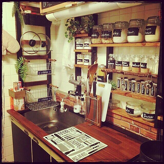 Kitchen,DIY,賃貸,木くずまみれ,おうちcafe,手作り,100均アイテム,セリアリメイク,絶賛こじらせ中,片付け下手,フェイクグリーン Mayuの部屋
