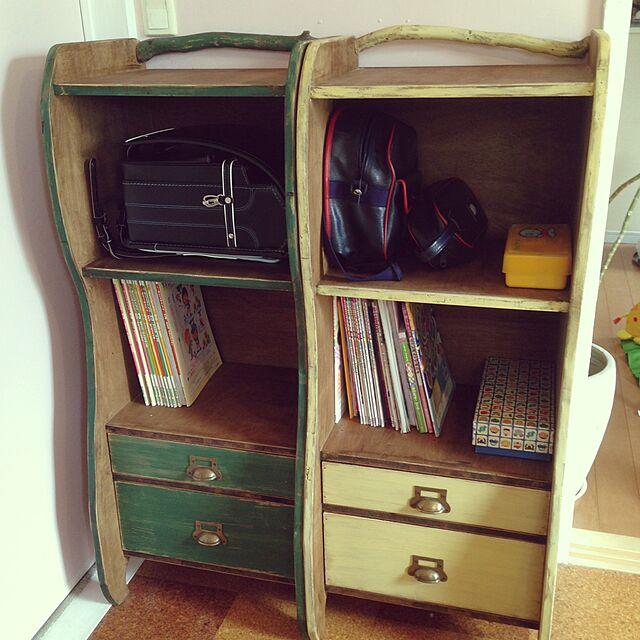 My Shelf,DIY,ランドセルラック,ひろった枝,バターミルクペイント,本棚DIY,幼稚園ロッカーDIY kyosuenagaの部屋
